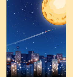 airplane flying on fullmoon night vector image vector image
