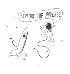 astronaut rocket vector image vector image