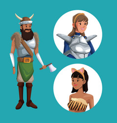 Blue poster with viking man costume and icons vector