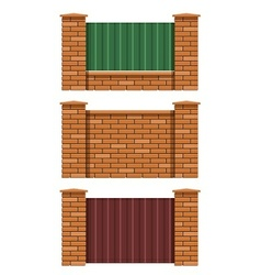 brick fence vector image