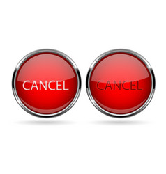 cancel buttons round red 3d icons with chrome vector image vector image
