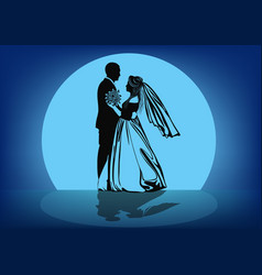 Contour image of the dancing bride and groom vector