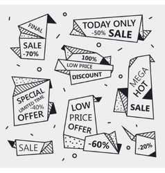 set of sale origami outline banners with vector image