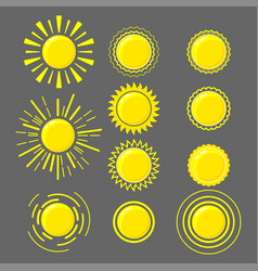 set of yellow suns vector image
