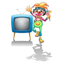A television beside a female clown vector image