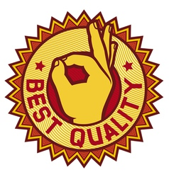 best quality symbol - man hand showing OK vector image