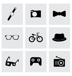 black hipster icons set vector image vector image