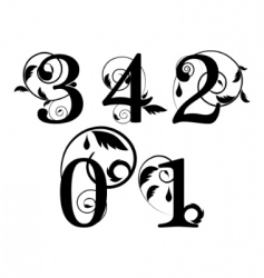 floral font numbers vector image