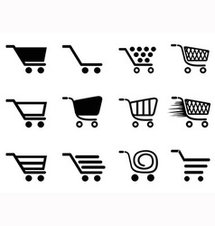 simple shopping cart icons set vector image