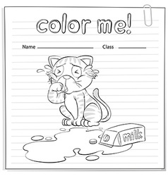 A coloring worksheet with a cat vector image vector image