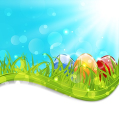 April card with Easter set colorful eggs vector image