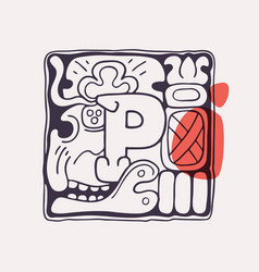 Aztec style letter p initial vector