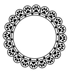 Black animal paw prints round frame border vector