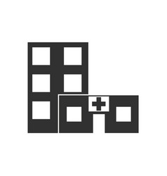 Black icon on white background hospital building vector