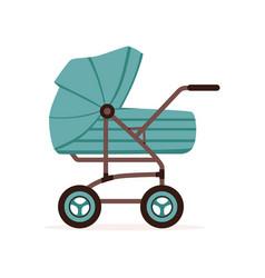 Blue baby pram or stroller safe transportation of vector