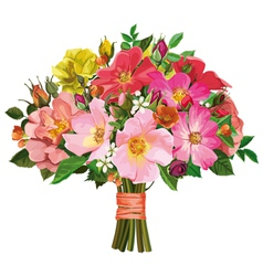 Bouquet of multicolored roses and wild flowers vector