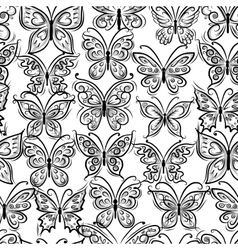 Butterflies ornate seamless pattern for your vector image