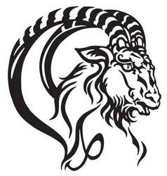 capricorn head tattoo vector image