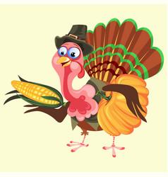 Cartoon thanksgiving turkey character in hat vector
