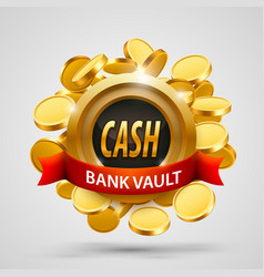 Cash bank vault coins depository vector