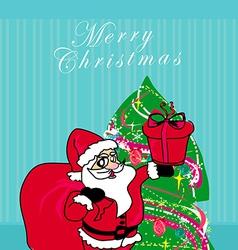 Christmas Santa Claus with christmas gift card vector image
