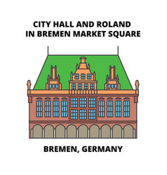 City hall and roland in bremen market square vector
