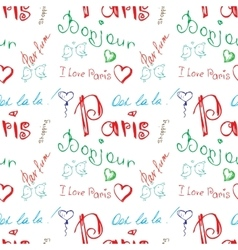 Colored word about Paris seamless pattern vector
