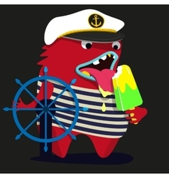 cute monster graphic captain vector image