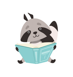 cute raccoon sitting and reading book funny vector image