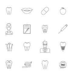dental icons outline vector image