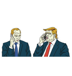 Donald trump with vladimir putin on phone cartoon vector