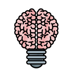 Drawing brain bulb inspiration creativity vector