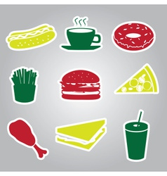 fast food stickers set eps10 vector image
