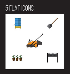Flat icon farm set of container flowerpot vector
