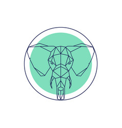 Geometric animal head elephant outline vector