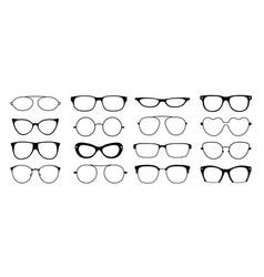 Glasses frames silhouette hipster geek sun vector