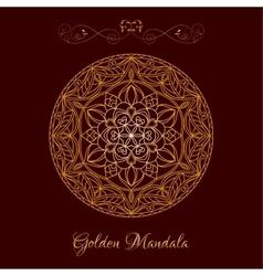 Gold Color Mandala over dark brown vector