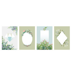 Greenery posters trendy floral frames borders of vector