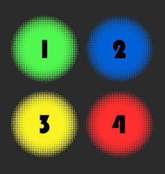 halftone color circle background set vector image