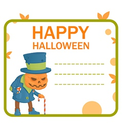 Halloween pumpkin monster card vector