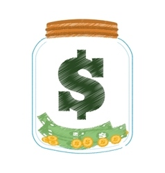 Hand draw money saving glass color vector