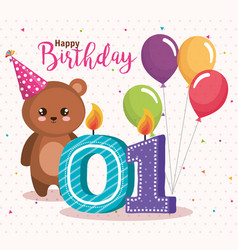 Happy birthday card with bear teddy vector