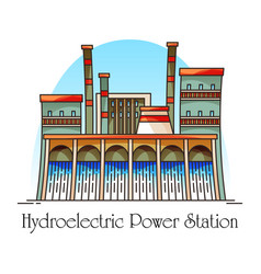 hydroelectric station with waterfall hydro plant vector image