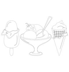 ice cream contours set vector image