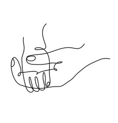 Icon an adult parents hand holding child hand vector
