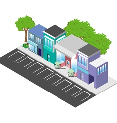Isometric downtown shops vector