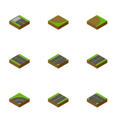 isometric road set of rotation turn down and vector image