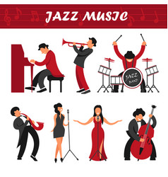 Jazz music band musicians and singers performer vector
