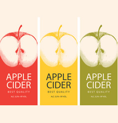 Labels for cider with apple and inscription vector