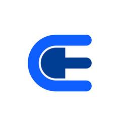 letter e blue concept logo icon vector image